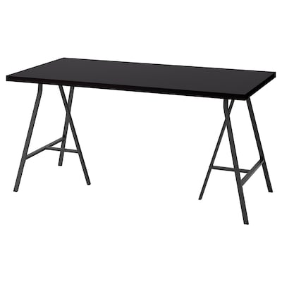 LINNMON / LERBERG Table, black-brown/grey, 150x75 cm