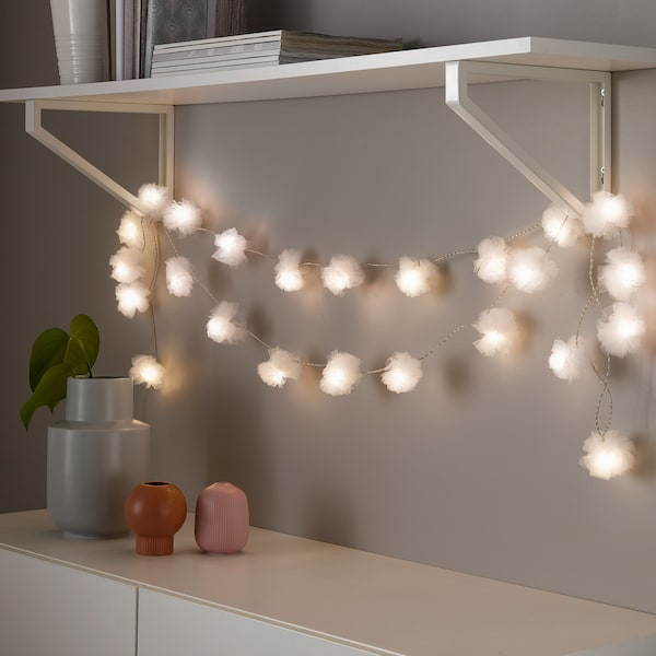 LIVSÅR LED lighting chain with 24 lights indoor/tulle white 1.5 m 15 cm 1.6 W 5 m