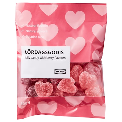 LÖRDAGSGODIS Jelly candy, with berry flavours, 100 g