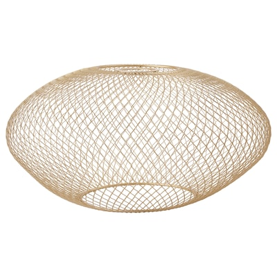 LUFTMASSA Lamp shade, brass-colour oval patterned, 37 cm