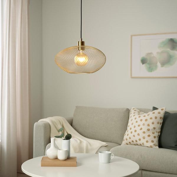 LUFTMASSA Lamp shade, brass-colour oval patterned, 37 cm