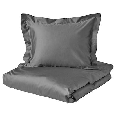 LUKTJASMIN Quilt cover and 2 pillowcases, dark grey, 240x220/50x60 cm