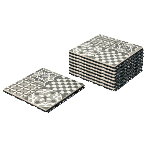 MÄLLSTEN floor decking, outdoor grey/white 0.81 m² 30 cm 30 cm 2 cm