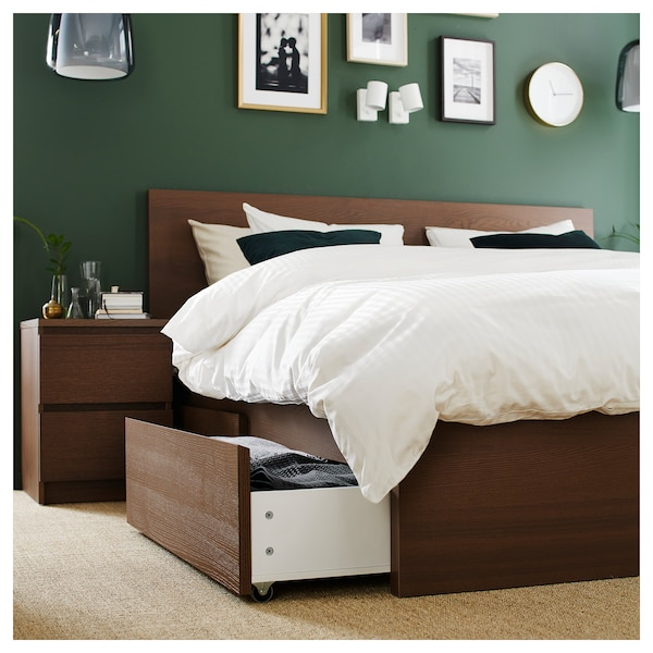 MALM Bed frame, high, w 4 storage boxes, brown stained ash veneer/Lönset, 140x200 cm