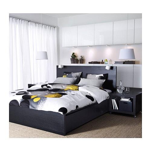 Malm Bed Frame High W 2 Storage Bo 140x200 Cm Leirsund White Ikea
