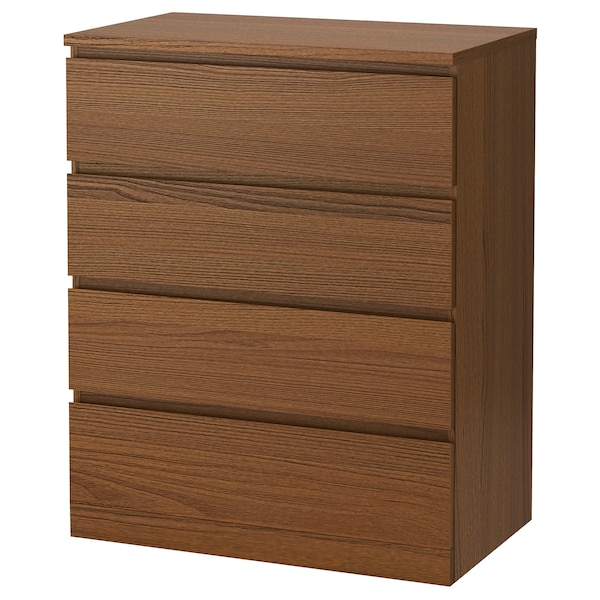 MALM chest of 4 drawers brown stained ash veneer 80 cm 48 cm 100 cm 72 cm 43 cm