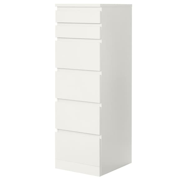 MALM chest of 6 drawers white/mirror glass 40 cm 48.5 cm 123 cm 32 cm 43 cm
