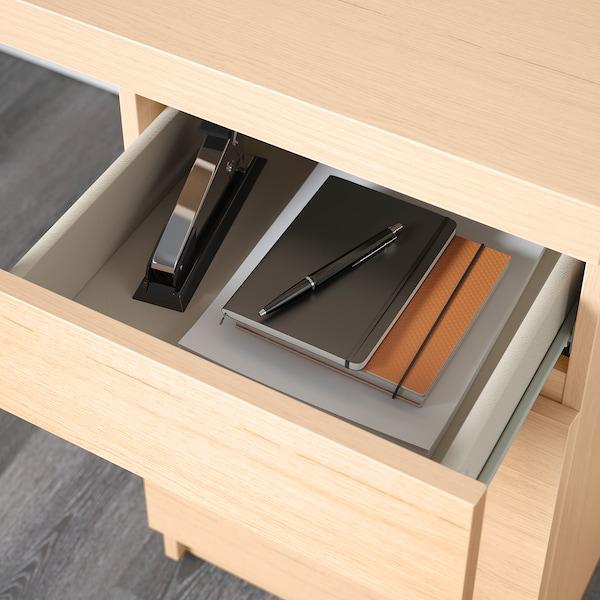 MALM Desk, white stained oak veneer, 140x65 cm
