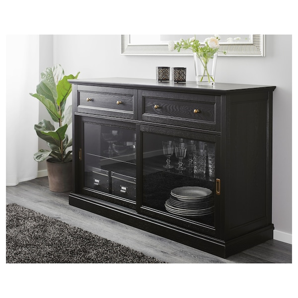 MALSJÖ sideboard basic unit black stained 145 cm 48 cm 92 cm