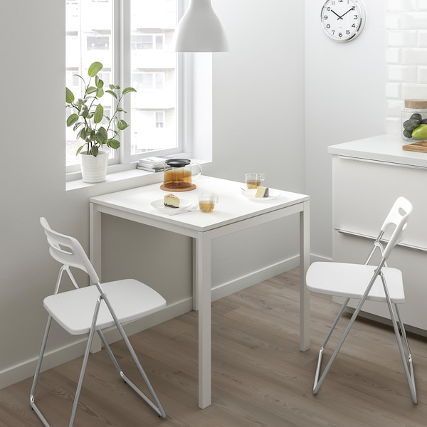 MELLTORP / NISSE Table and 2 folding chairs, white/white, 75 cm