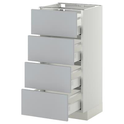 METOD Base cab 4 frnts/4 drawers, white/Veddinge grey, 40x37 cm