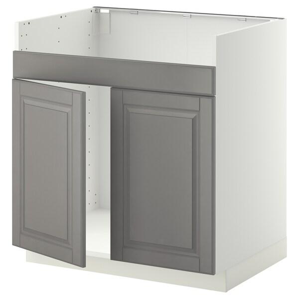 METOD Base cab f HAVSEN double bowl sink, white/Bodbyn grey, 80x60 cm