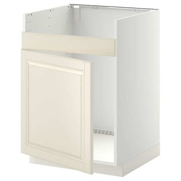 METOD Base cab f HAVSEN single bowl sink, white/Bodbyn off-white, 60x60 cm