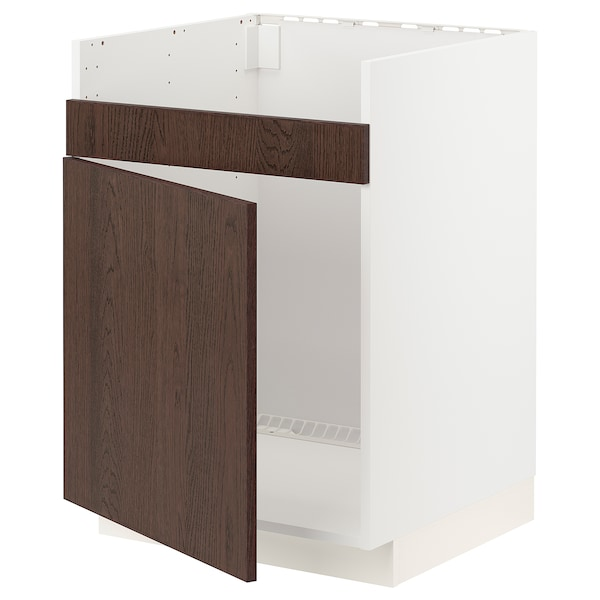 METOD Base cab f HAVSEN single bowl sink, white/Sinarp brown, 60x60 cm