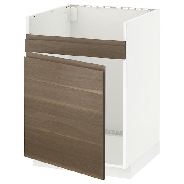 METOD Base cab f HAVSEN single bowl sink, white/Voxtorp walnut effect, 60x60 cm