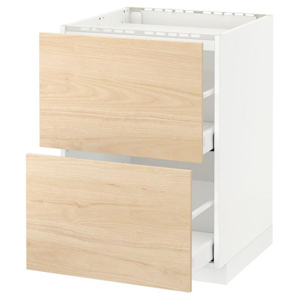 METOD Base cab f hob/2 fronts/2 drawers, white/Askersund light ash effect, 60x60 cm