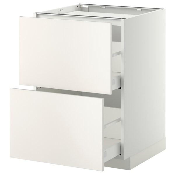 METOD Base cab f hob/2 fronts/2 drawers, white/Veddinge grey, 60x60 cm