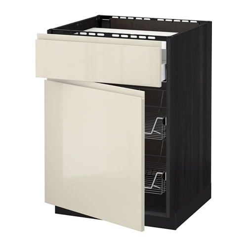 METOD Base cab f hob/drawer/2 wire bskts - white, Voxtorp white - IKEA