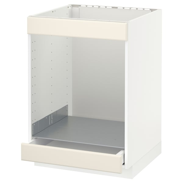METOD Base cab for hob+oven w drawer, white/Bodbyn off-white, 60x60 cm