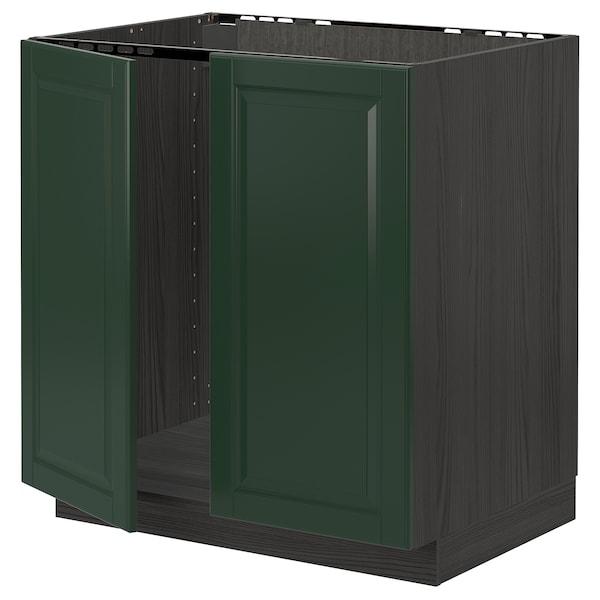 METOD Base cabinet for sink + 2 doors, black/Bodbyn dark green, 80x60 cm