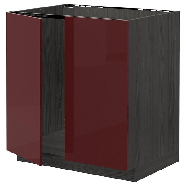 METOD Base cabinet for sink + 2 doors, black Kallarp/high-gloss dark red-brown, 80x60 cm