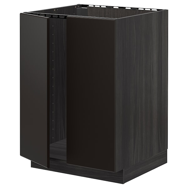METOD Base cabinet for sink + 2 doors, black/Kungsbacka anthracite, 60x60 cm