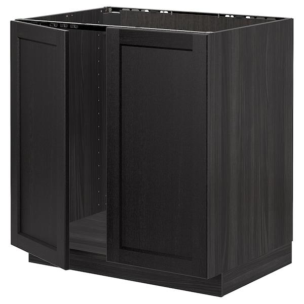 METOD Base cabinet for sink + 2 doors, black/Lerhyttan black stained, 80x60 cm