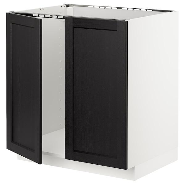 METOD Base cabinet for sink + 2 doors, white/Lerhyttan black stained, 80x60 cm