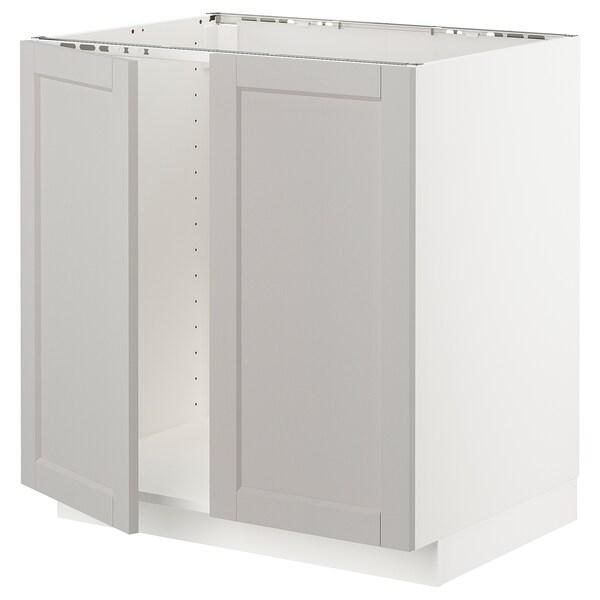 METOD Base cabinet for sink + 2 doors, white/Lerhyttan light grey, 80x60 cm