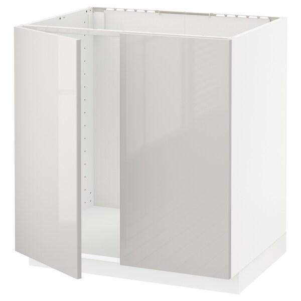 METOD Base cabinet for sink + 2 doors, white/Ringhult light grey, 80x60 cm