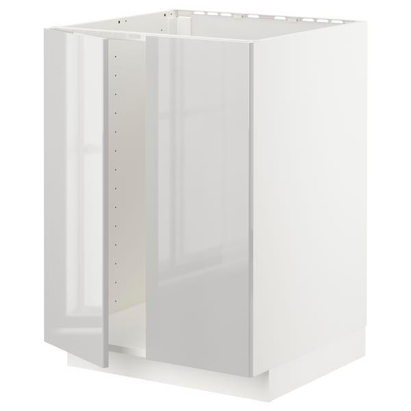 METOD Base cabinet for sink + 2 doors, white/Ringhult light grey, 60x60 cm