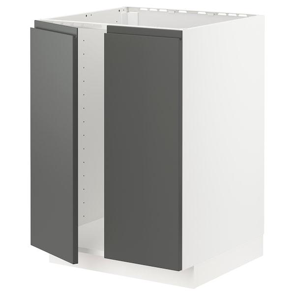 METOD Base cabinet for sink + 2 doors, white/Voxtorp dark grey, 60x60 cm