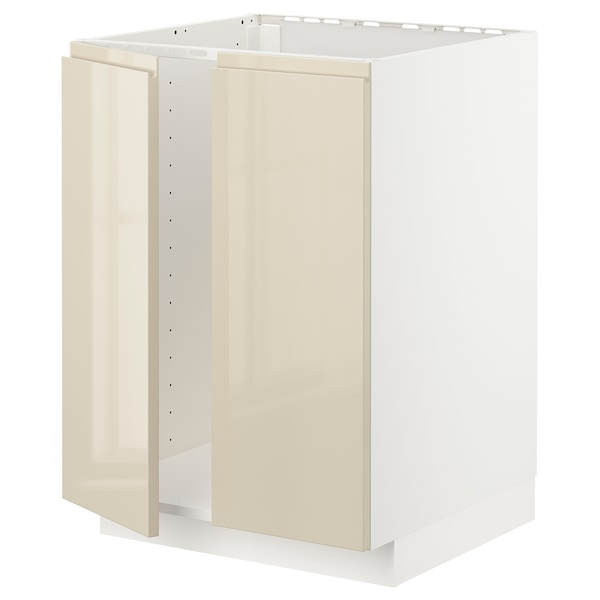 METOD Base cabinet for sink + 2 doors, white/Voxtorp high-gloss light beige, 60x60 cm