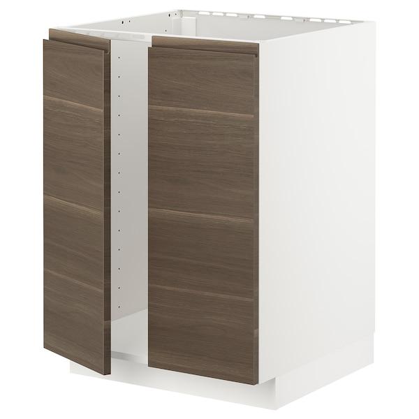 METOD Base cabinet for sink + 2 doors, white/Voxtorp walnut effect, 60x60 cm