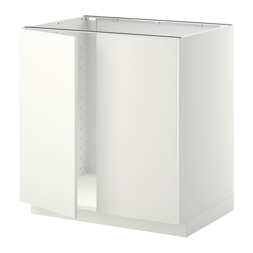 METOD Base cabinet for sink + 2 doors - white, Häggeby white, 80x60 ...