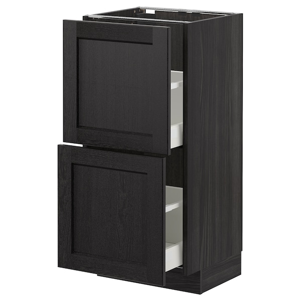 METOD Base cabinet with 2 drawers, black/Lerhyttan black stained, 40x37 cm