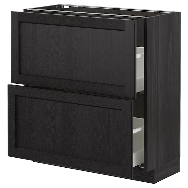 METOD Base cabinet with 2 drawers, black/Lerhyttan black stained, 80x37 cm