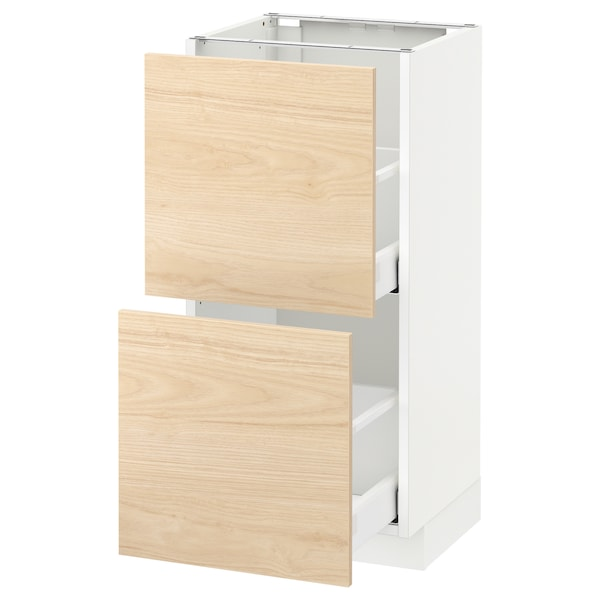 METOD Base cabinet with 2 drawers, white/Askersund light ash effect, 40x37 cm