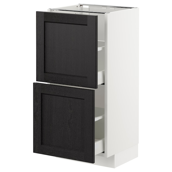 METOD Base cabinet with 2 drawers, white/Lerhyttan black stained, 40x37 cm