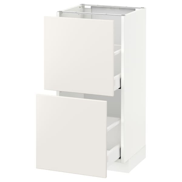 METOD Base cabinet with 2 drawers, white/Veddinge white, 40x37 cm