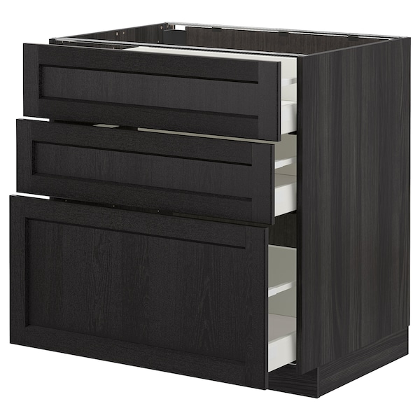 METOD Base cabinet with 3 drawers, black/Lerhyttan black stained, 80x60 cm