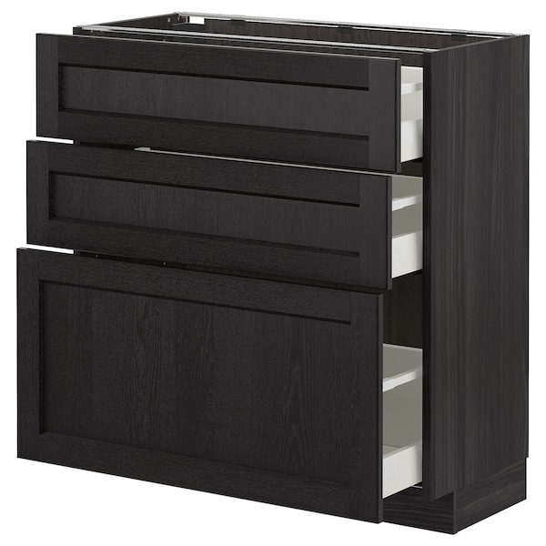 METOD Base cabinet with 3 drawers, black/Lerhyttan black stained, 80x37 cm