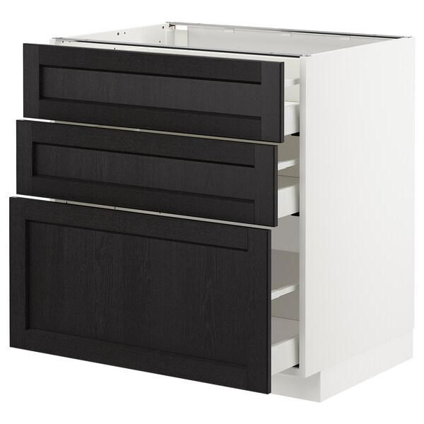METOD Base cabinet with 3 drawers, white/Lerhyttan black stained, 80x60 cm