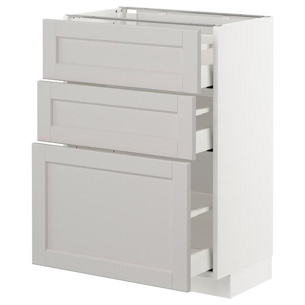 METOD Base cabinet with 3 drawers, white/Lerhyttan light grey, 60x37 cm