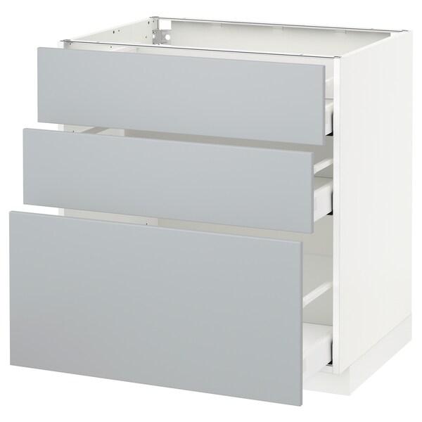 METOD Base cabinet with 3 drawers, white/Veddinge grey, 80x60 cm
