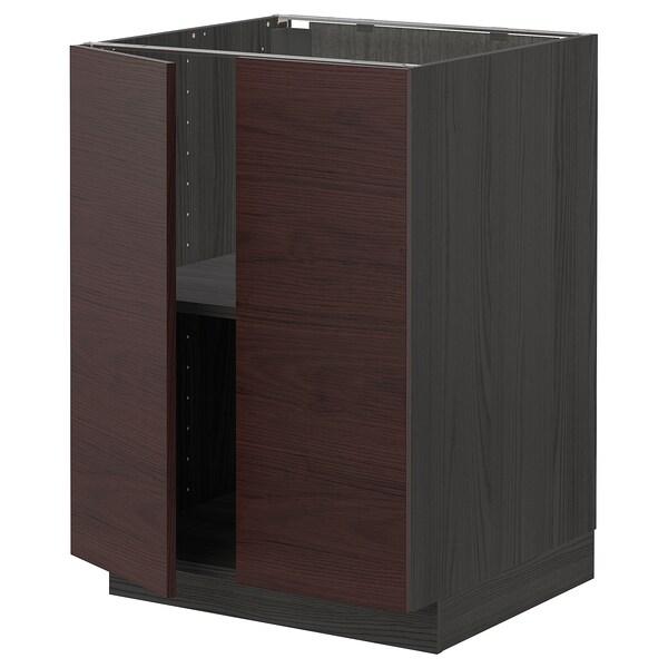 METOD Base cabinet with shelves/2 doors, black Askersund/dark brown ash effect, 60x60 cm