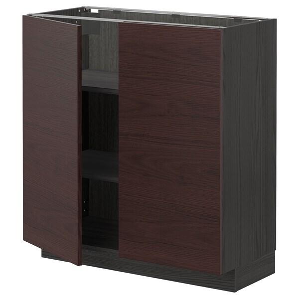 METOD Base cabinet with shelves/2 doors, black Askersund/dark brown ash effect, 80x37 cm