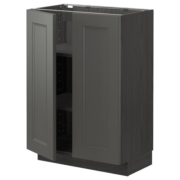 METOD Base cabinet with shelves/2 doors, black/Axstad dark grey, 60x37 cm