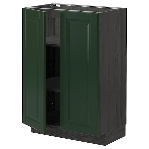 METOD Base cabinet with shelves/2 doors, black/Bodbyn dark green, 60x37 cm