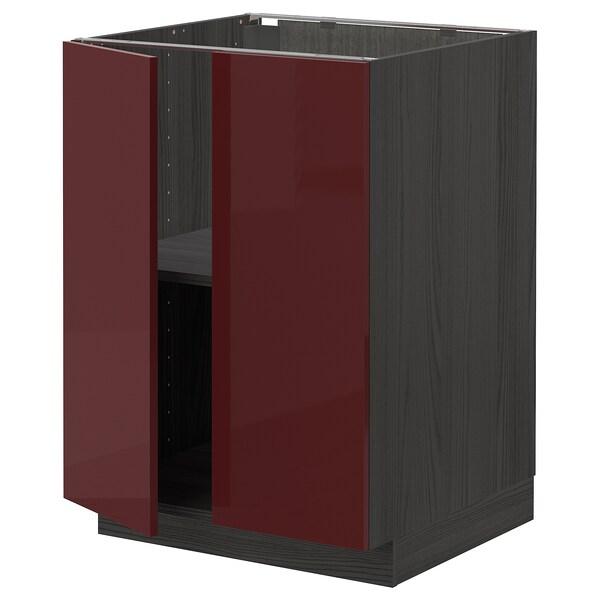 METOD Base cabinet with shelves/2 doors, black Kallarp/high-gloss dark red-brown, 60x60 cm